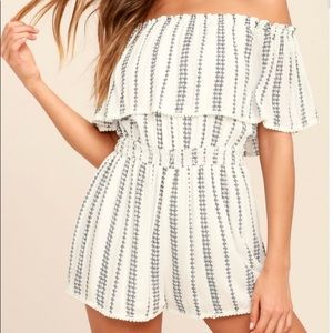 LULUS See You There White & Blue Striped Romper XS